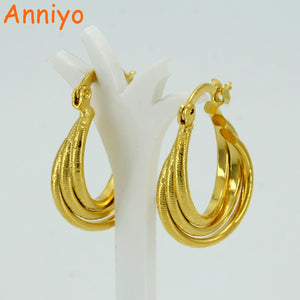 Anniyo Charms Earring for Women's/Girl,Africa Jewelry Arab Gold Color Ethiopian Small Earrings #053402