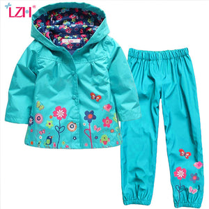 LZH Children Clothes 2017 Autumn Winter Girls Clothes Set Raincoat Jacket+Pants Kids Boys Sport Suit Toddler Girls Clothing Sets