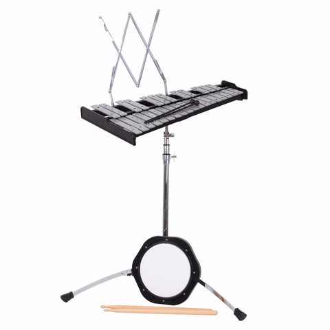 Ship from USA! Percussion Glockenspiel Bell Kit 30 Notes w/ Practice Pad +Mallets+Sticks+Stand