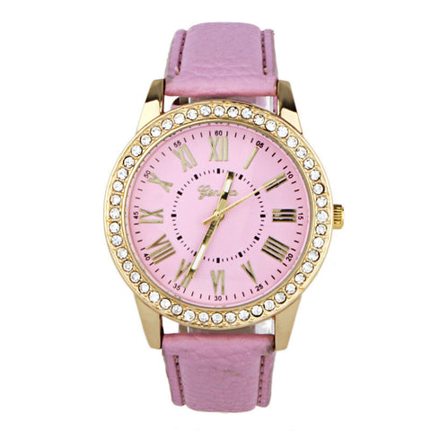 Fashion Women Geneva Rhinestone Leather Band Quartz Wrist Watch