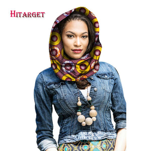 Hitarget Autumn & Winter New Africa Style Design Collar Scarf African Wax Print Scarf Headtie for Women Cotton Scarves WYB66