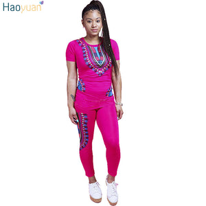 5070cd4b94bb HAOYUAN 2 Two Piece Set Women Ladies African Print Outfits Plus Size Short  Sleeve Casual Bodycon
