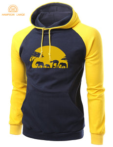 2017 Autumn Winter Hoodies Elephants Across African Safari Warm Fleece Animal Raglan Sweatshirts Men Casual Loose Fit Hoodie Men