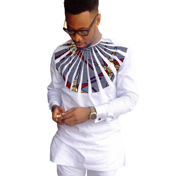 African fashion shirts men ankara print long sleeve dashiki shirts white cotton and wax patchwork o-neck top of africa clothing
