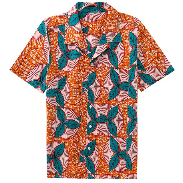 Autumn New Short Sleeve Casual Man Shirt Camisa Masculina Shamrock Africa Wax Print Purified Cotton Men's Beach Hawaii Shirts