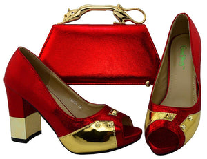 New Arrival Color Red Italian Shoes Matching with Matching Bags African Shoes and Italian Handbags Super high heel  YM004