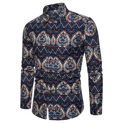 Fashion 2018 Spring-autumn Men's shirts printing Linen Shirt men Ethnic style clothes asian size ST0084
