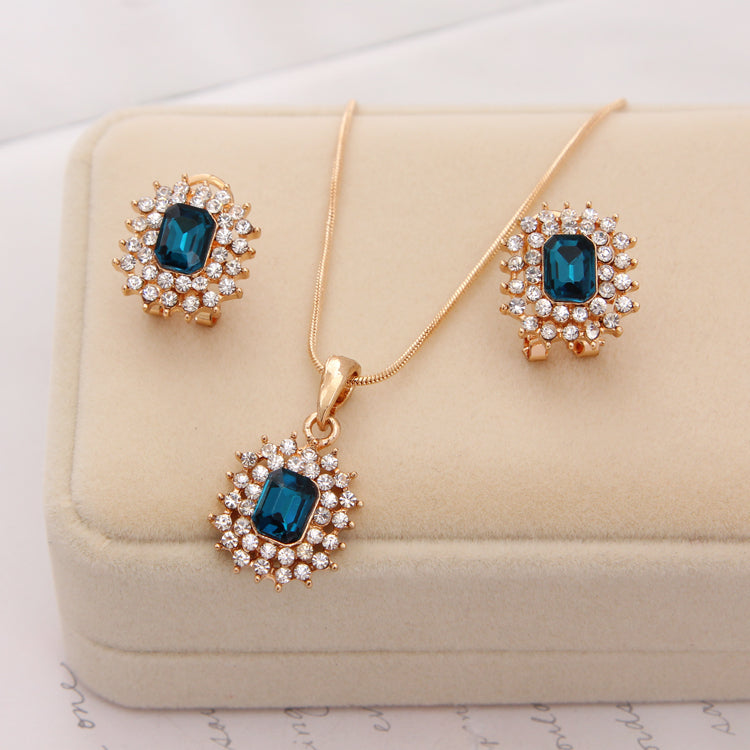 Hot female costume Jewelry set for women Gold Crystal Rhinestone Beads Chocker Pendant Necklace earrings set wedding
