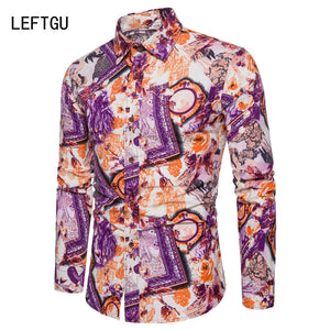 HOT!!! 2018 Spring-autumn Men's shirts printing Linen Shirt men travel Casual clothes asian size ST0689