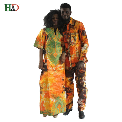 H&D African clothes traditional dresses for couples for men and women costume bazin riche embroidery design Dashiki robe
