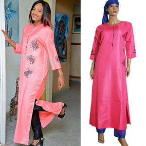 3 pieces set new fashion african clothing for women dresses pant scarf set bazin riche robe embroidery african clothes