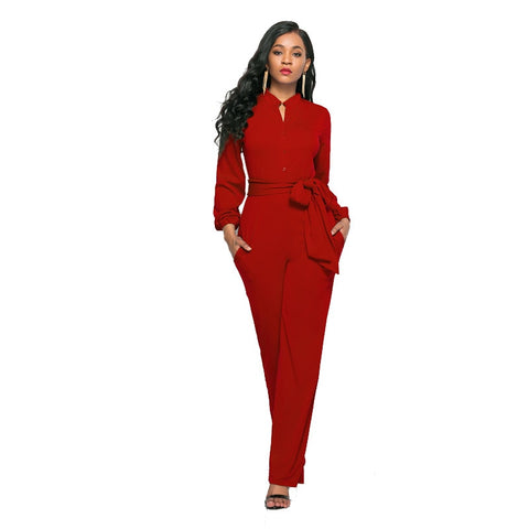 Women Elegant Autumn Winter 2018 Long Sleeve Work Office Stretch Bodycon African Wide Leg Pants Formal Romper Jumpsuit 205071