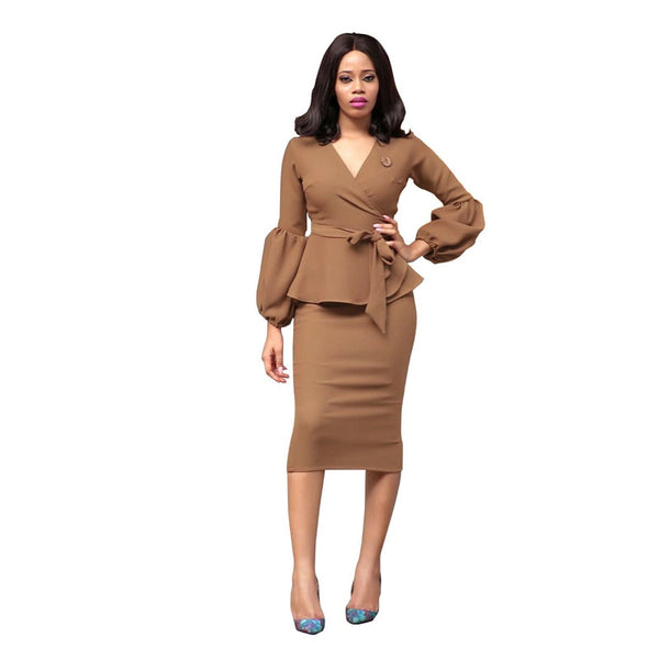 Women's Elegant Long Sleeve Sexy Fashion V Neck High Quality Brown Ruffles Peplum African Winter Work Office Fitted Dresses 2018
