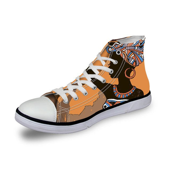 FORUDESIGNS Fashion African Girl Women Vulcanized Shoes Canvas Shoe Lace-up Casual High Top Ladies Shoes for Woman Sneakers