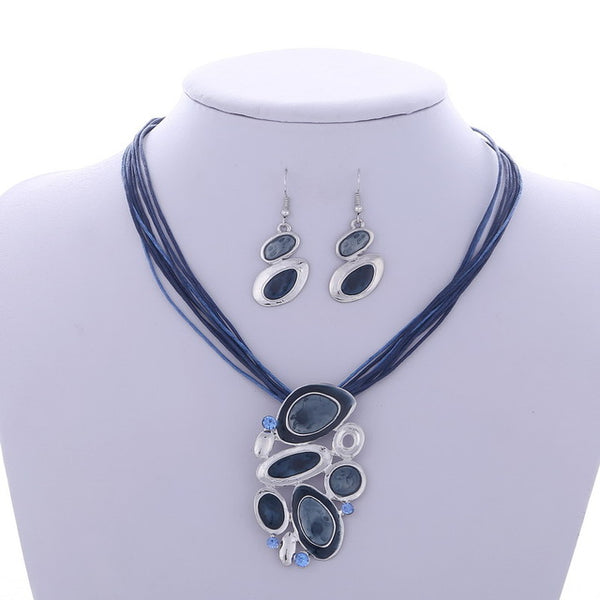 Silver Jewelry Sets Necklace Earrings Crystal Gem Enamel Geometric African Maxi Statement Necklace Jewelry Wedding accessories