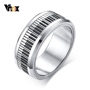 Vnox Rotatable Piano Key Ring For Men Stainless Steel Band Stylish Spinner Band Music Lover Musician Gift Jewelry