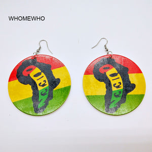 Bohemia Ethnic Geometric Wood Wooden Round Painting Africa Map Drop Earrings African Women Summer Vintage Tribal Party Jewelry