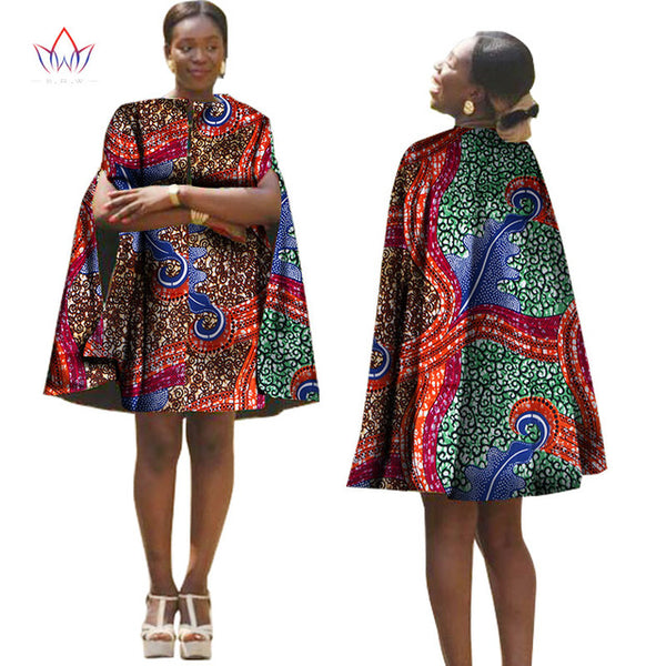 Summer Africa Women Dress With Cloak African Traditional Pattern Printed Dresses Back Zipper Plus Size Party Dresses WY1319