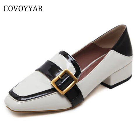 COVOYYAR Women Shoes Black White Flat Heel Buckle Oxford Shoes Dress Work Loafers Elegant Casual Slip On WFS352
