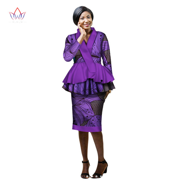 Autumn New african skirt suits Dashiki women elegant lady casual set femme Bazin Riche cotton plus size two pieces BRW WY2203