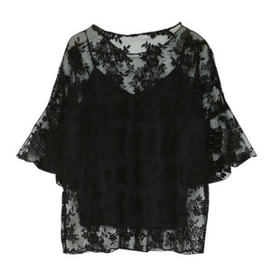 2PCS Hot Fashion Women Chiffon Floral Embroidery Tops O-Neck Half Sleeve Lace Tops+ Sleeveless Tanks Clothes LM75