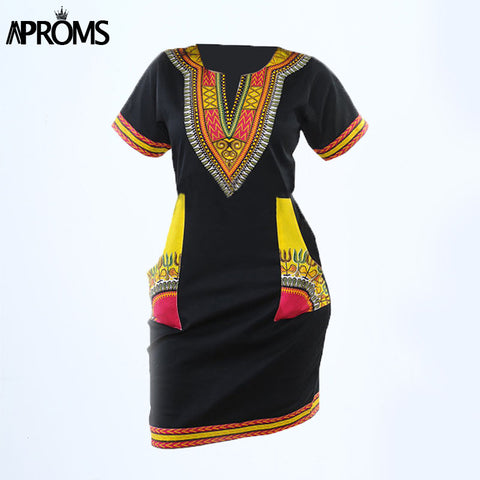 Aproms Women Summer Bodycon Dress Robe Sexy Casual Sundress Plus Size Clothing Vintage African Print Dashiki Dresses