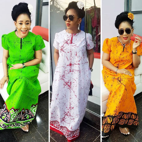 African women clothing fashion africaine robe short sleeve printing long loose stripe maxi dress africa clothes