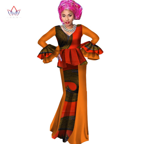 Autumn Africa Women Dashiki Two Pieces Top Skirt Custom African Dashiki Top Skirt Sets Wax African Women's Party Sets 6xl WY2333