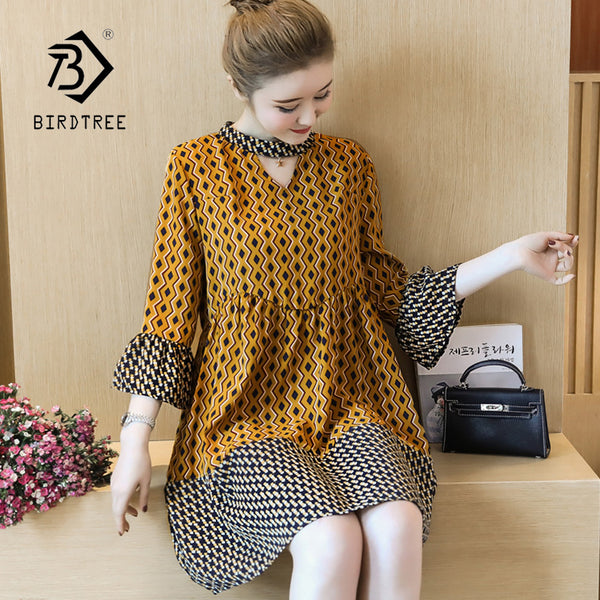 New Arival Summer Women Elegant Patchwork Flare Sleeve Dress Lady Clothes Fashion Geometric Patterns Dress Plus Size D87518F