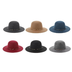 Fashion Women's Wool Fedora Hat with Metal Ring Vintage Wide Brim Hat For Laday Wide Brim Sombreros Jazz Church Cap