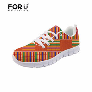 FORUDESIGNS Vintage African Pattern Women's Flats Shoes for Girls Female Sneakers Casual Mesh Flat Shoes Breathable Comfortable