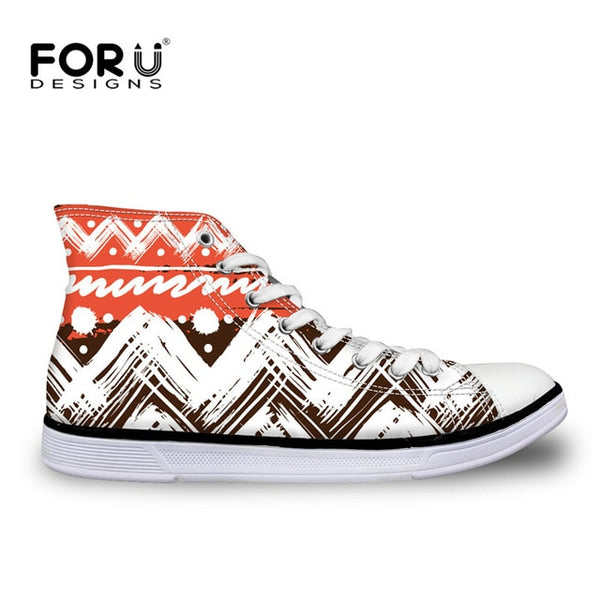 FORUDESIGNS African Traditional Print High Top Canvas Shoes Fashion Women Vulcanize Shoes Ladies Girls Classic Lace Up Sneakers