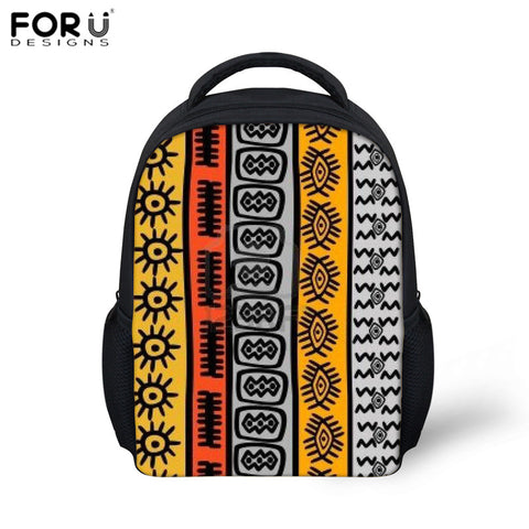 FORUDESIGNS School Bag African Traditional Printed 12 Inch Schoolbag for Kids Boys Girls Kindergarten Backpack Mochila Infantil
