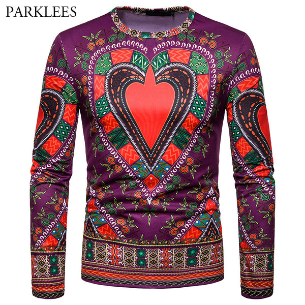 Fashion 3D T Shirt Men 2018 Autumn New African Dashiki Print T-shirt Men Casual Slim Fit Long Sleeve T Shirts Camisetas Hombre