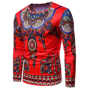 African Style Clothing Men's Long Sleeve T Shirts 3D Print Casual Tee Shirts Cotton Tops Slim Fit Hiphop Muscle Tee