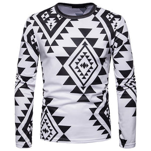 Mens Autumn Casual African Indian Print Dashiki Long Sleeve Pullover Top Blouse