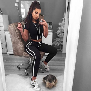 Summer Sportwear For Women 2 Piece Set Striped Crop Hoodies Top Pants Sporting Suit Set Female Tracksuit Two Piece Outfits DG051