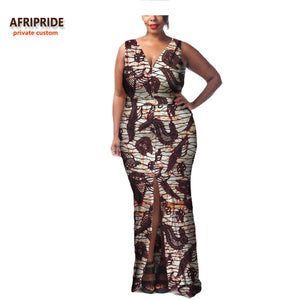 African dress for women AFRIPRIDE sleeveless V-neck ankle length tank dress casual style front open dress A722592