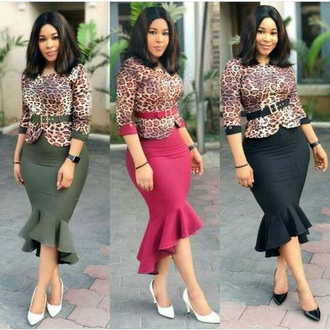 African dresses for women african clothes dresses 2 piece set dress leopard print vintage fishtail dress vetsidos