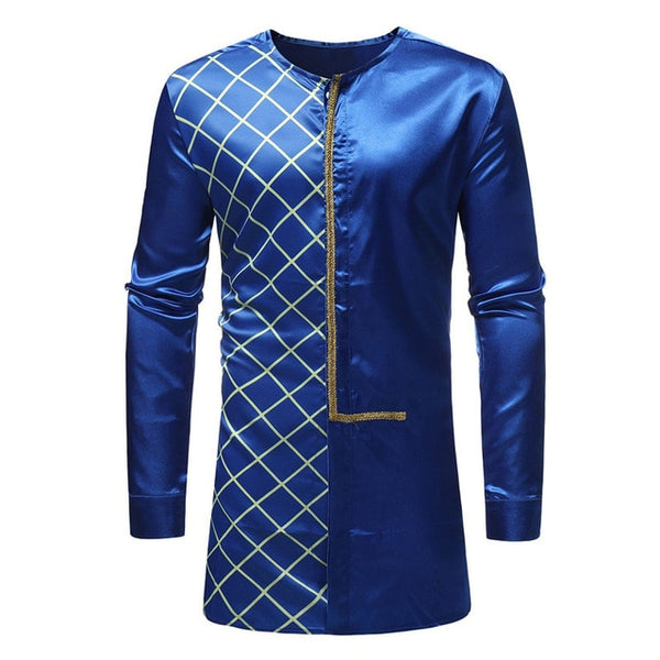 African Style Traditional Men Clothes Men Shirts Dress Long Sleeve African Dashiki Traditional Print Costume Bottom Up Autumn