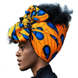 "Shenbolen African Headwrap Women Cotton Wax Fabric Traditional Headtie Scarf Turban 100% Cotton Wax 72""x22"""