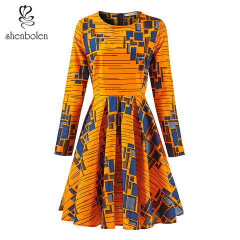 Shenbolen African Women Ankara Print Dresses Autumn and Winter Long Sleeves Ankara Dress