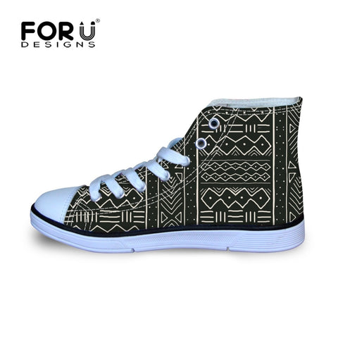 FORUDESIGNS Kids Shoes for Girls Boys African Pattern Prints Children Comfortable Canvas Shoes High Top Kids Breathable Sneakers
