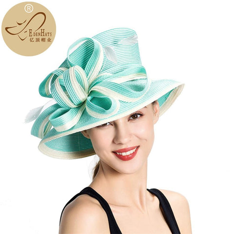 Elegant fashion fancy church hat with bowknot Wedding Hat PP Braid Hat Satin Braid Hat S10-3705