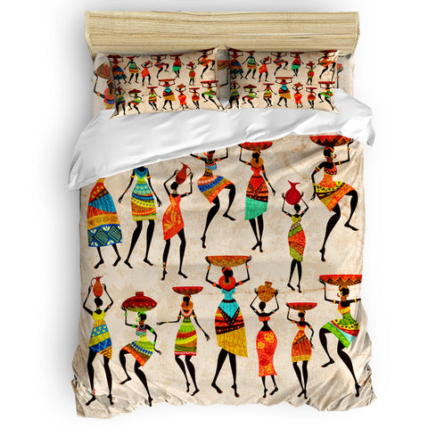 African Women Ethnic Retro Duvet Cover Set View of Folkloric Serape Blanket Charro Hat and Music Instruments 4 Piece Bedding Set