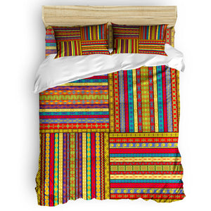 African Ancient Art Duvet Cover Set View of Folkloric Serape Blanket Charro Hat and Music Instruments 4 Piece Bedding Set