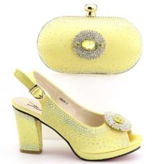 664-8 gold Italian Shoes with Matching Bag for Woman Italian Shoes and Bag Set High Quality African Wedding Shoe and Bag