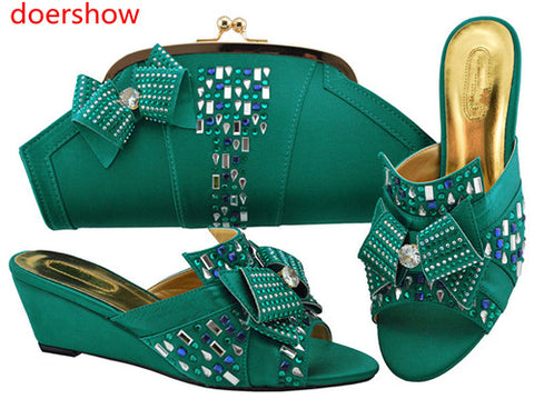 doershow  Women Shoe and Bag Set in Italy Shoes and Bag Set African Sets Italian Matching Shoes and Bag Set with  teal!HH1-16