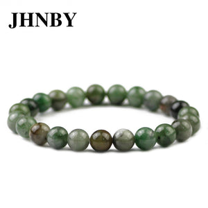 JHNBY Natural African green Stone Men Bracelet&Bangle Charm Women 6/8/10/12MM Beads Braided/Elastic Rope Trendy jewelry Dropship