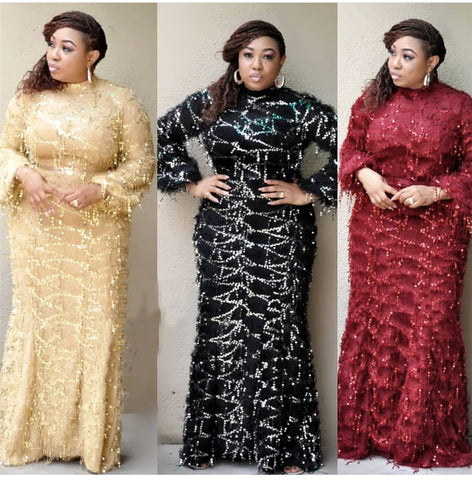 GuyuEra African European Fur Tassel Sequined High Collar Long Sleeve Mini Dress Fishtail Dress for Church